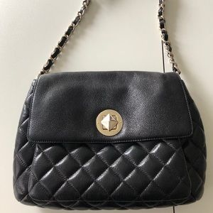 Kate Spade quilted Chanel-like large black purse
